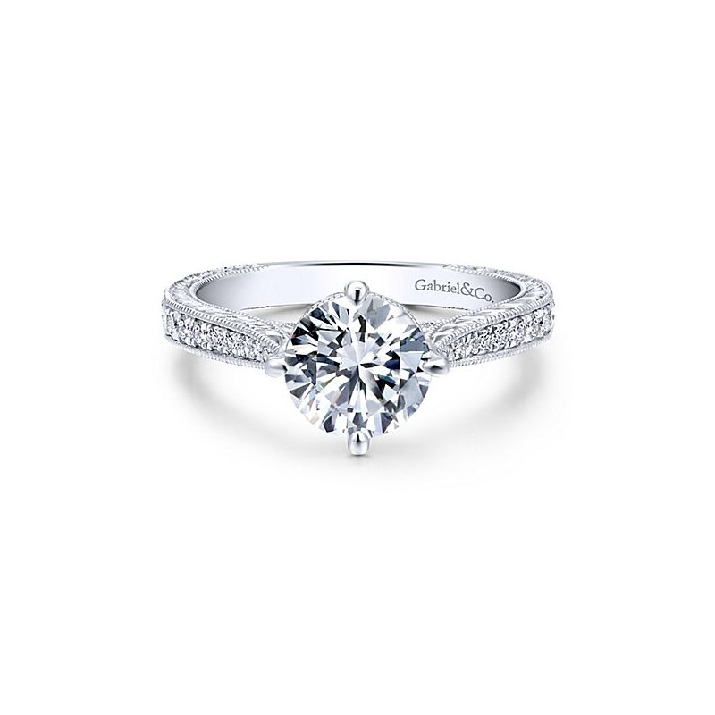 Gabriel NY Arabella 14k White Gold Engraved Diamond Engagement Ring featuring pave' Diamonds by Gabriel NY