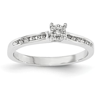 From the Promise Ring Collection 14k White Gold Channel Set and Prong Set Solitaire Diamond Ring
