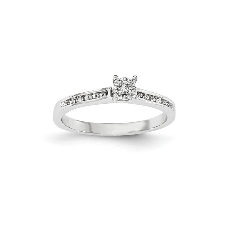 Signature Collection From the Promise Ring Collection 14k White Gold Channel Set and Prong Set Solitaire Diamond Ring