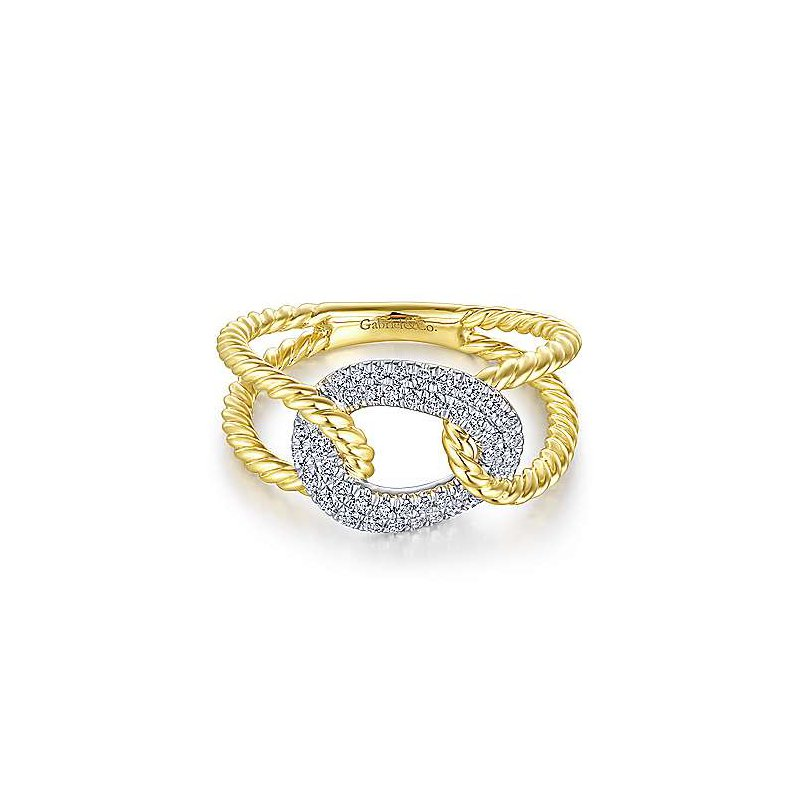 Signature Collection 14k Yellow & White Gold Twisted Rope Link Diamond Ring