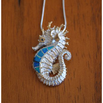 Kovel Sea Life Collection Medium Seahorse Pendant Sterling Silver with Lab Created Blue and Green Opal