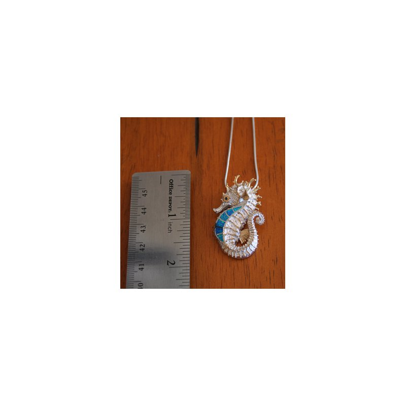 Kovel Sealife Kovel Sea Life Collection Medium Seahorse Pendant Sterling Silver with Lab Created Blue and Green Opal