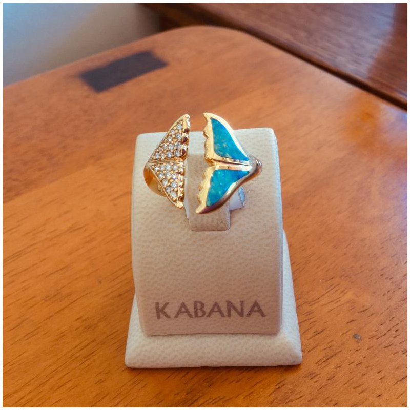 Kabana Jewelry Kabana 14k Yellow Gold Australian Opal Whale's Tail and Diamond Ring - #34671