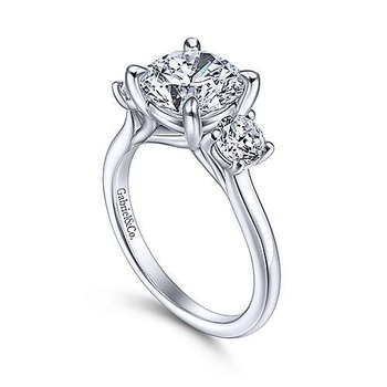 14k White Gold 3-Stone Engagement Ring by Gabriel NY