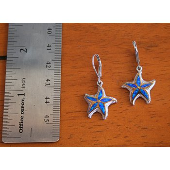 Sterling Silver and 18k Yellow Gold Plated Kyocera Lab Created Opal Leverback Starfish Earrings