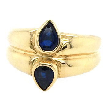 Genuine Blue Sapphire Ring in 18k Yellow Gold - 15605