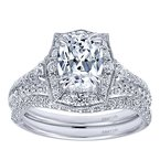 Gabriel NY Platinum Fancy Oval Halo Engagement Ring Mounting from the Amavida Collection by Gabriel NY