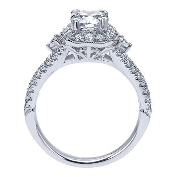Platinum Fancy Oval Halo Engagement Ring Mounting from the Amavida Collection by Gabriel NY
