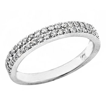14k White Gold Double Row Pave' Diamond Ring