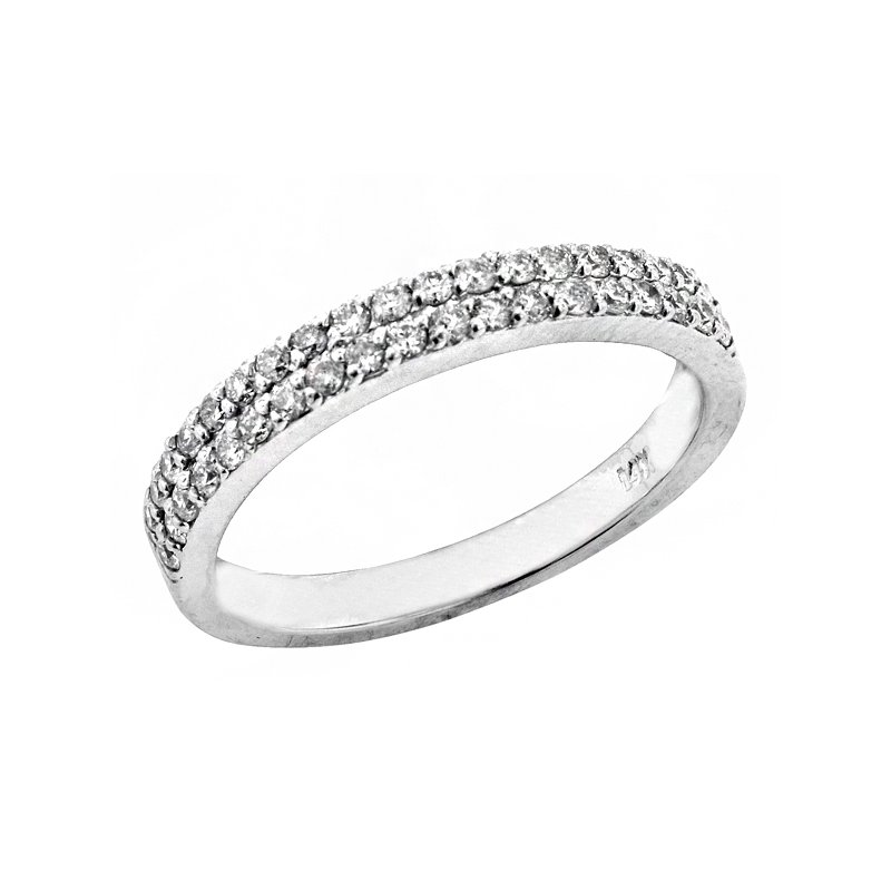 Signature Collection 14k White Gold Double Row Pave' Diamond Ring