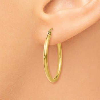 14k Yellow Gold 25mm Hoop Earrings