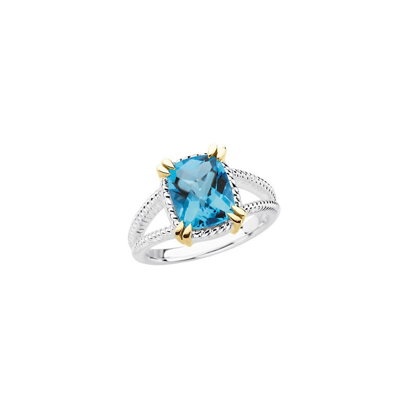 Signature Collection Genuine Checkerboard Swiss Blue Topaz Ring