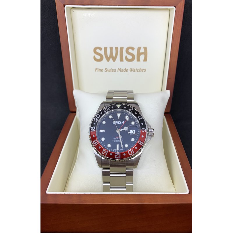 Swiss Watches SWISH Swiss Made Watch Style #SW105 Stainless Steel Black & Red Rotating Bezel
