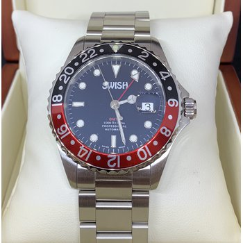 SWISH Swiss Made Watch Style #SW105 Stainless Steel Black & Red Rotating Bezel