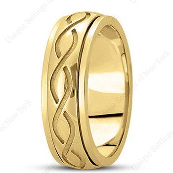 Unique Settings HM284 - Y - 14k Yellow Gold Handmade Celtic Design 7mm Men's Wedding Band