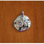 Kovel Sealife Sterling Silver and Gold Plate Sand Dollar Pendant  with inlaid White Mother of Pearl.