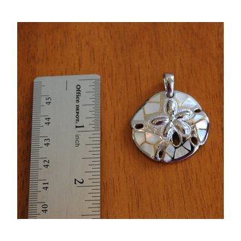 Sterling Silver and Gold Plate Sand Dollar Pendant  with inlaid White Mother of Pearl.