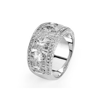 18k White Gold Marquise and Round Brilliant Diamond Ring - 36006