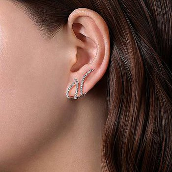 14k White Gold Abstract Diamond Stud Earrings by Gabriel NY