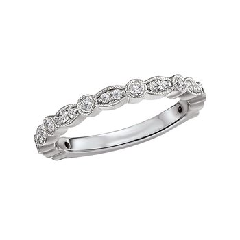 14k White Gold Diamond Wedding Band with Marquise and Round Shapes