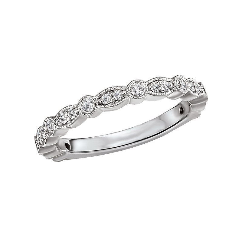 Signature Collection 14k White Gold Diamond Wedding Band with Marquise and Round Shapes