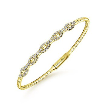 14k Yellow Gold Pave' Diamond Soft Bangle Bracelet by Gabriel NY