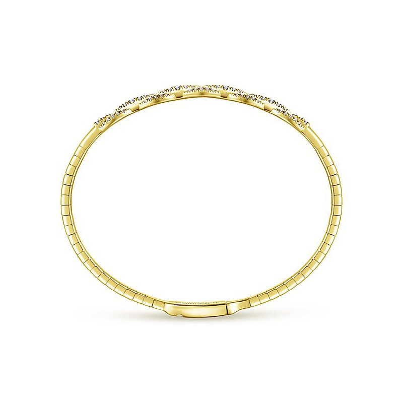 Signature Collection 14k Yellow Gold Pave' Diamond Soft Bangle Bracelet by Gabriel NY