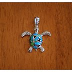 Kovel Sealife Sterling Silver Filigree Turtle Pendant with Kyocera Lab Created Synthetic Opal