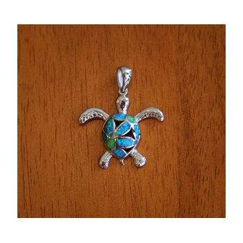 Sterling Silver Filigree Turtle Pendant with Kyocera Lab Created Synthetic Opal