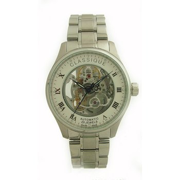 Classique Gents Stainless Steel Full Skeleton Swiss Made Automatic Watch - #9000W White
