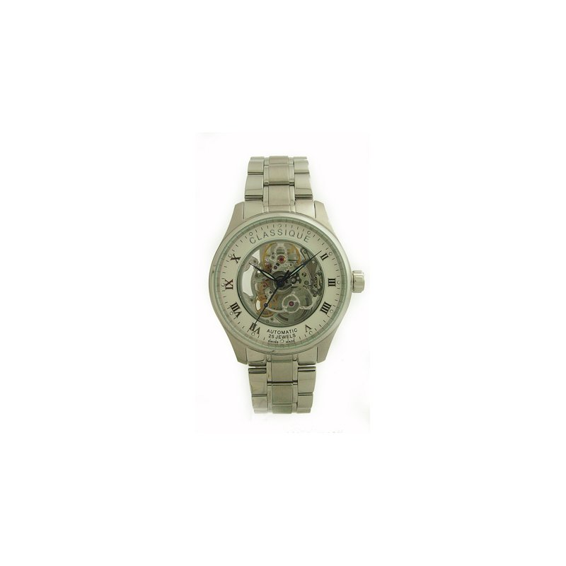 Swiss Watches Classique Gents Stainless Steel Full Skeleton Swiss Made Automatic Watch - #9000W White