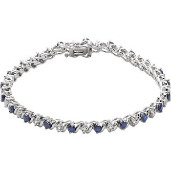 14k White Gold Sapphire and Diamond Bracelet with Created Sapphires - #ELI651634SS