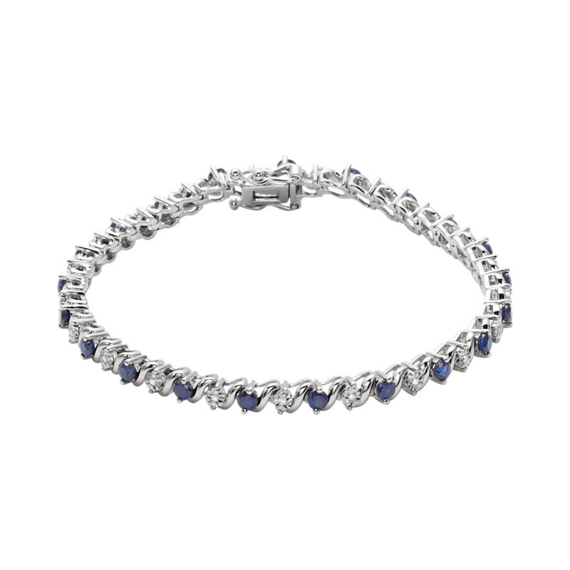 Signature Collection 14k White Gold Sapphire and Diamond Bracelet with Created Sapphires - #ELI651634SS