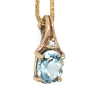 Genuine Aquamarine and Diamond Pendant