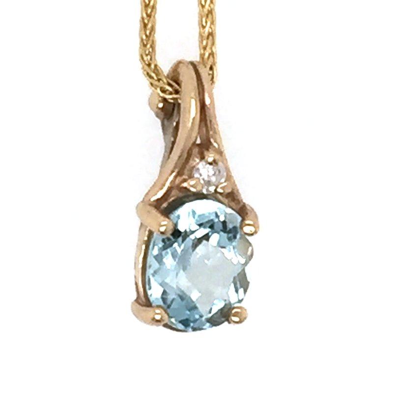 Signature Collection Genuine Aquamarine and Diamond Pendant