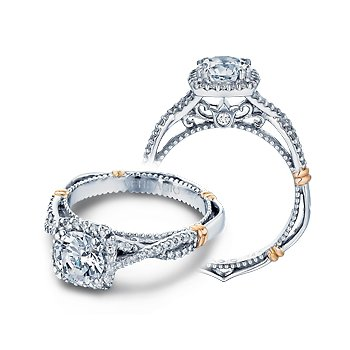 Verragio Parisian D-106CU - 14k White and Rose Gold Diamond Cushion Halo Engagement Ring by Verragio