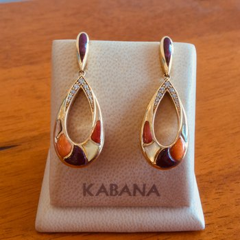 14k Yellow Gold Dangle Earrings from Kabana's Riviera Collection with Multi Mother of Pearl & Diamonds