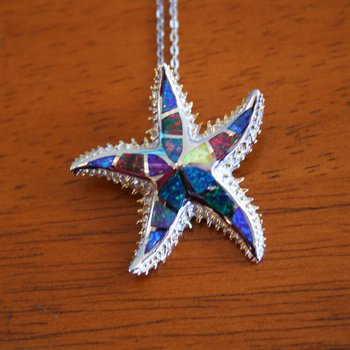 Sterling Silver and Gold Plate Starfish Pendant with Multi-color Kyocera Lab Created Opal