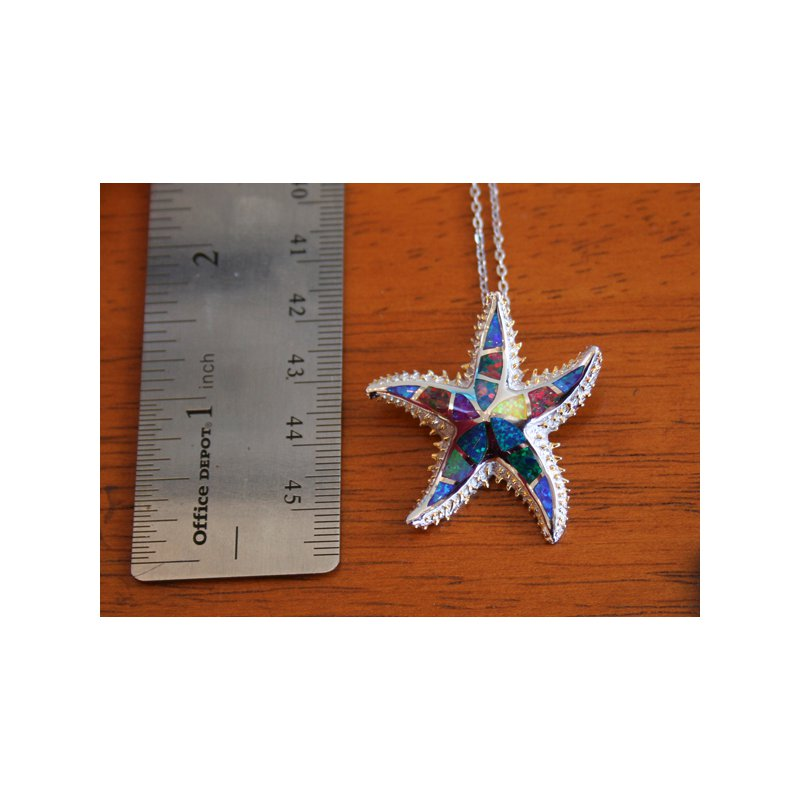 Kovel Sealife Sterling Silver and Gold Plate Starfish Pendant with Multi-color Kyocera Lab Created Opal
