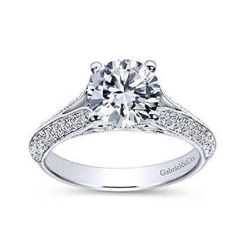 Gabriel NY 14k White Gold Split Shank Diamond Engagement Ring Style #ER9040