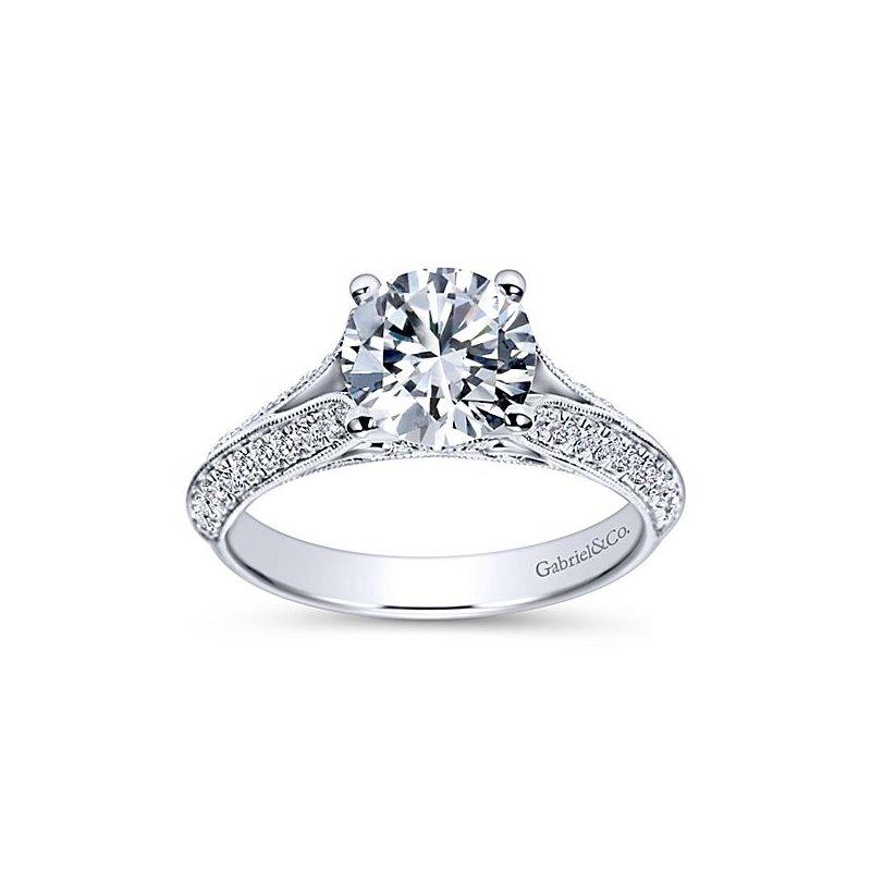 Gabriel NY Gabriel NY 14k White Gold Split Shank Diamond Engagement Ring Style #ER9040