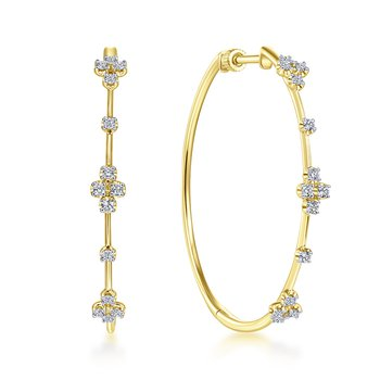 14k Yellow Gold Ladies' 40mm Diamond Hoop Earrings