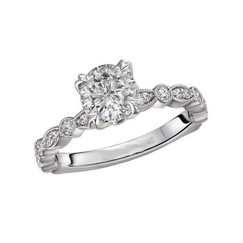 14k White Gold Engagement Ring with Marquise and Round Shapes