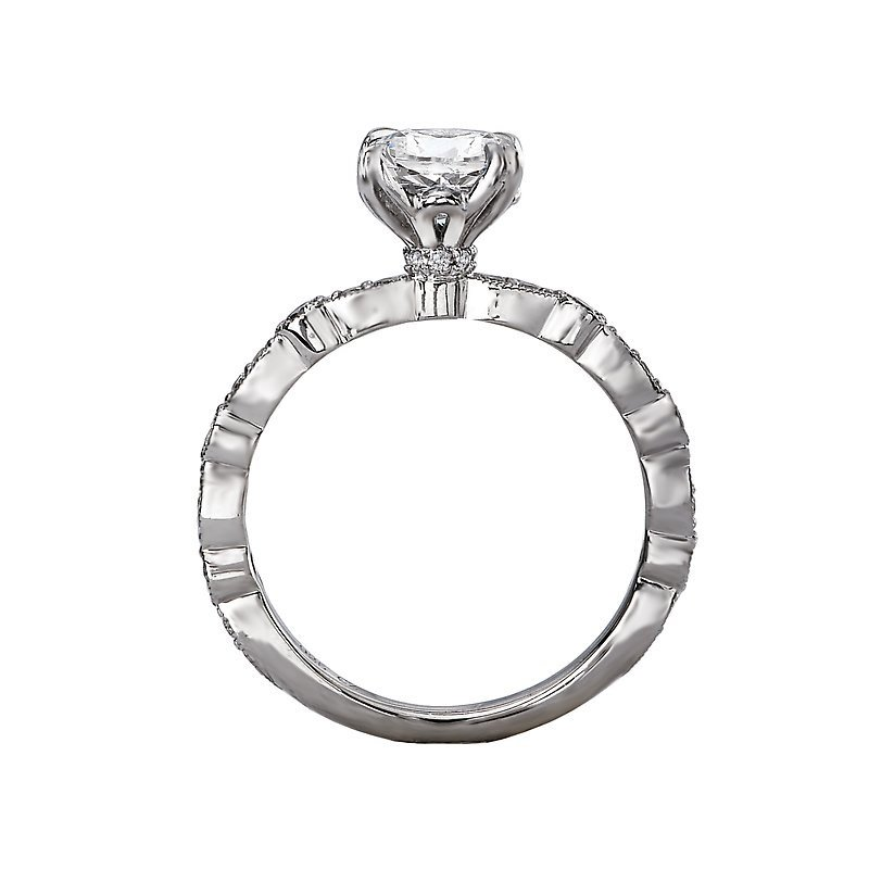 Signature Collection 14k White Gold Engagement Ring with Marquise and Round Shapes
