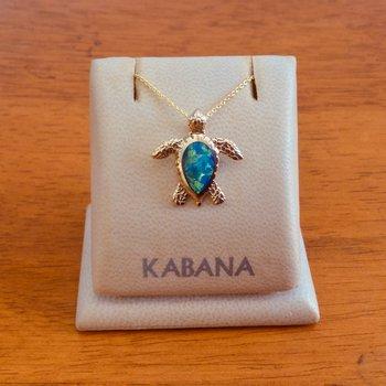 Kabana Sea Turtle Pendant with Solid Australian Opal Inlay in 14k Yellow Gold