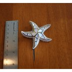 Kovel Sealife Sterling Silver and Gold Plate Starfish Slide Pendant with inlaid White Mother of Pearl.