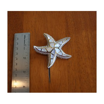 Sterling Silver and Gold Plate Starfish Slide Pendant with inlaid White Mother of Pearl.