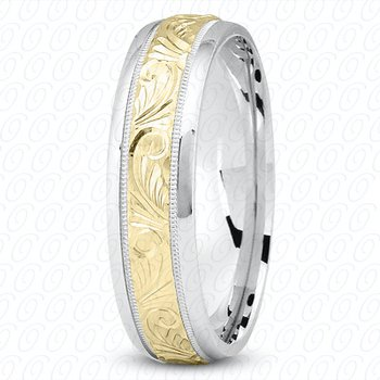Unique Settings M344 - W - Y - 14k White and Yellow Gold Fancy Carved Hand Engraved 7mm Men's Wedding Band