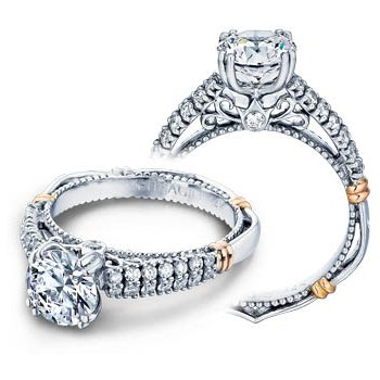 Verragio Parisian-115 - 14k White and Rose Gold Diamond Engagement Ring by Verragio