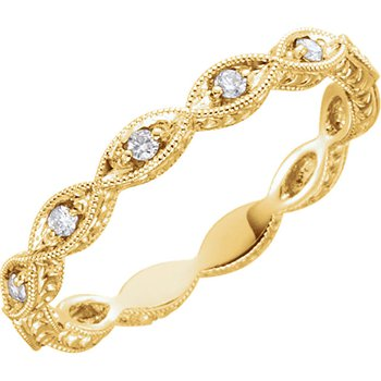 14k Yellow Gold Stackable Round Brilliant Diamond Band